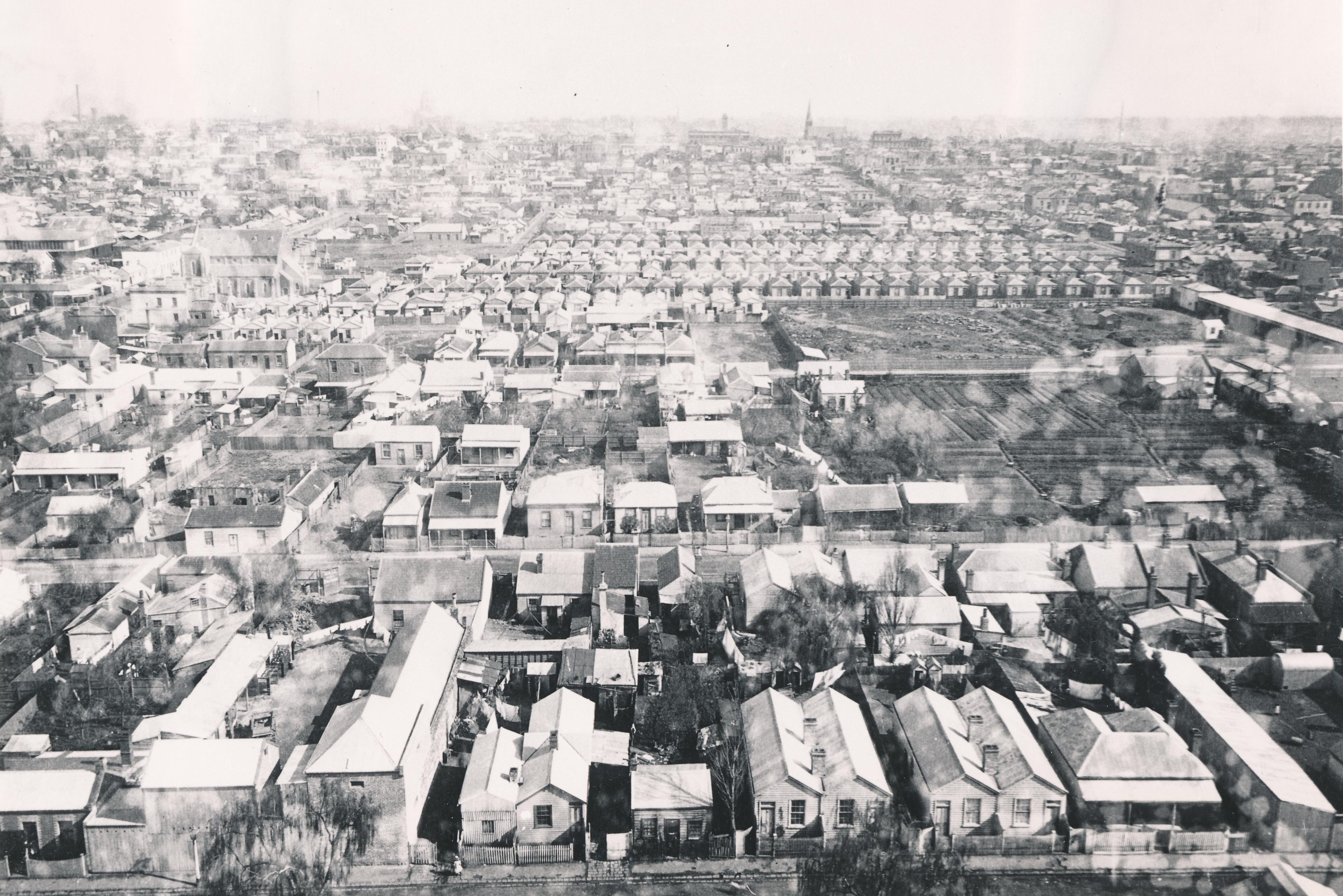 View of Collingwood looking west from the Town Hall, c1887. Photographer, J W Lindt? Yarra Libraries, CL PIC 44.