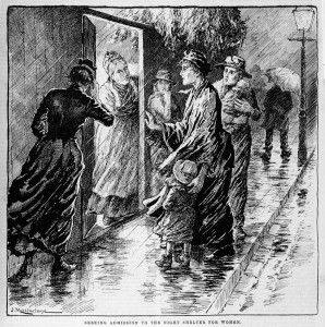 Seeking Admission to the night shelter for women, Australian Illustrated News, 1 June 1891. Illustrator, J Macfarlane, David Syme & Co. State Library Victoria, IAN01/06/91/1.